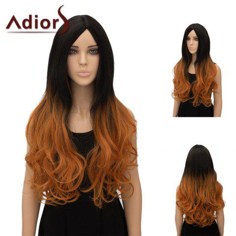 Discount Adiors Ultra Long Center Part Wavy Ombre Cosplay Synthetic Wig - GRADUAL BROWN  Mobile