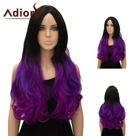 Affordable Adiors Ultra Long Center Part Wavy Ombre Cosplay Synthetic Wig RED/GRADUAL PURPLE