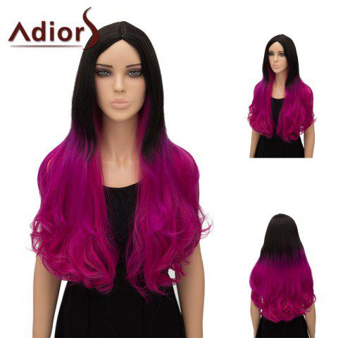 Fashion Adiors Ultra Long Center Part Wavy Ombre Cosplay Synthetic Wig - GRADUAL PINK  Mobile