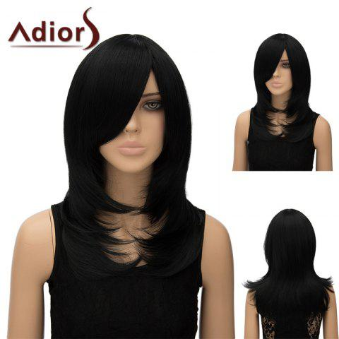 Cheap Adiors Inclined Bang Long Tail Adduction Straight Cosplay Anime Wig JET BLACK