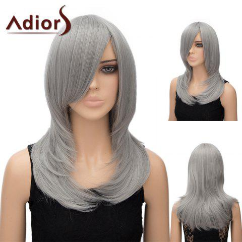 Sale Adiors Inclined Bang Long Tail Adduction Straight Cosplay Anime Wig - SILVER GRAY  Mobile