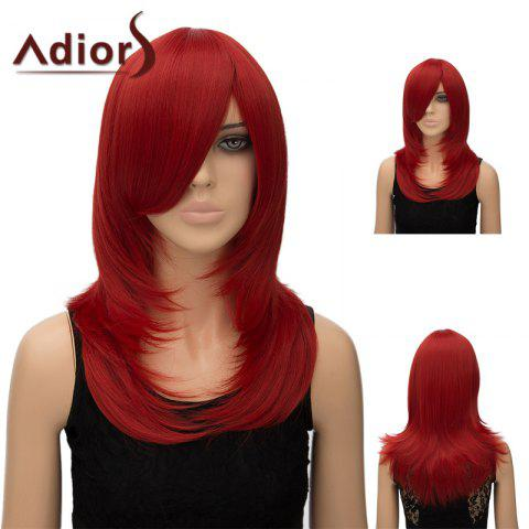 Best Adiors Inclined Bang Long Tail Adduction Straight Cosplay Anime Wig RED