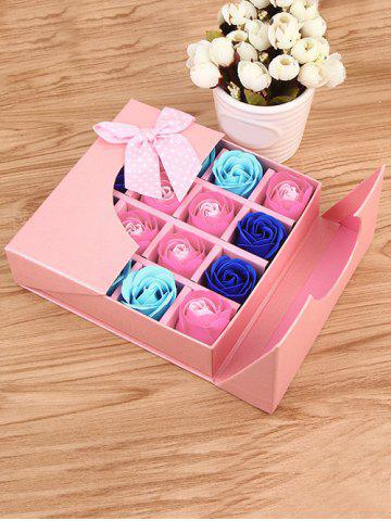 Outfit 1 Box 16 Grids Bowknot Artificial Soap Roses Mother's Day Gift PINK