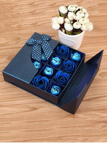 Online 1 Box 16 Grids Bowknot Artificial Soap Roses Mother's Day Gift ROYAL