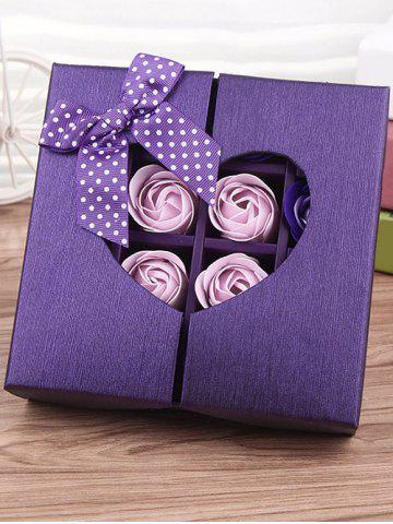 Outfits 1 Box 16 Grids Bowknot Artificial Soap Roses Mother's Day Gift - VIOLET  Mobile