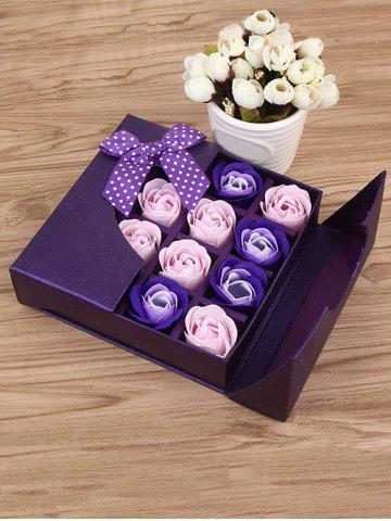 Discount 1 Box 16 Grids Bowknot Artificial Soap Roses Mother's Day Gift VIOLET