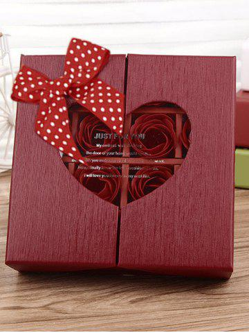 Unique 1 Box 16 Grids Bowknot Artificial Soap Roses Mother's Day Gift - BRIGHT RED  Mobile