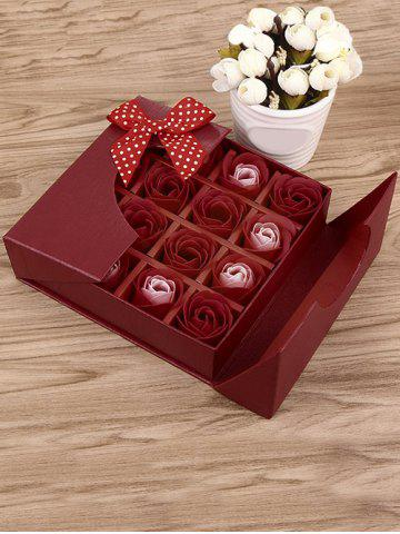 Outfits 1 Box 16 Grids Bowknot Artificial Soap Roses Mother's Day Gift BRIGHT RED