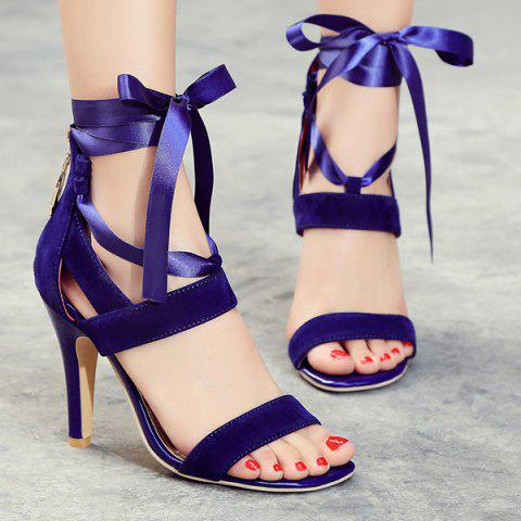Best Suede Ribbon Zipper Sandals
