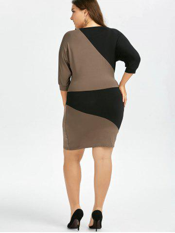 Latest Plus Size Batwing Sleeve Two Tone Bodycon Dress - 2XL COLORMIX Mobile