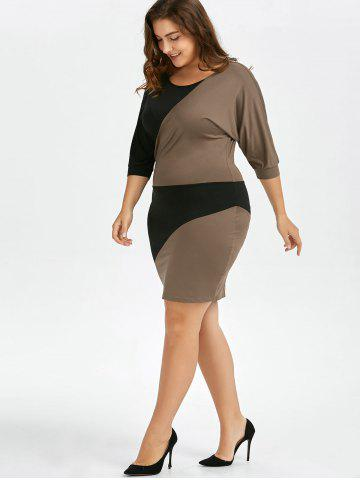 Chic Plus Size Batwing Sleeve Two Tone Bodycon Dress - 2XL COLORMIX Mobile