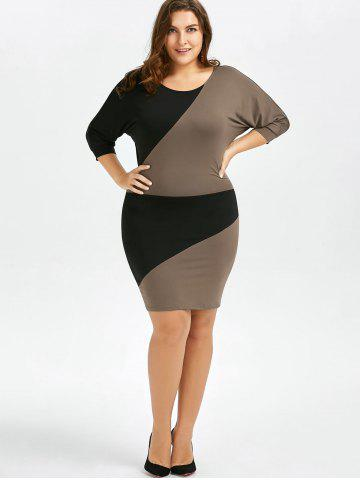 Outfit Plus Size Batwing Sleeve Two Tone Bodycon Dress - 2XL COLORMIX Mobile