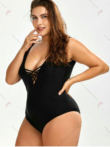Discount Plus Size Backless Swimwear - 2XL BLACK Mobile