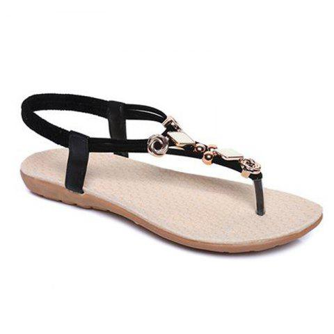 Best Elastic Band Metal Flat Heel Sandals - 37 BLACK Mobile