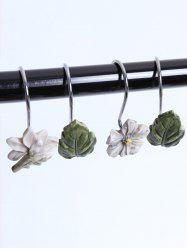 12 Pcs Flower Fallen Leaves Shower Curtain Hooks
