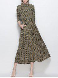 A Line Printed Chiffon Maxi Dress with Pockets - YELLOW L