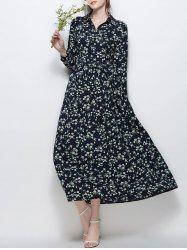 Long Sleeve Floral Print Chiffon Maxi Dress