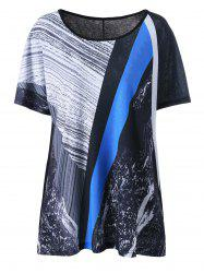 Abstract Printed Plus Size Long T-Shirt