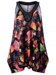 Plus Size Leaf Printed Beadings Sleeveless Swing Top