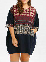 Plus Size Print Linen Baggy Dress With Pockets