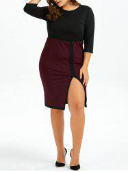 Plus Size Two Tone Front Slit Sheath Dress