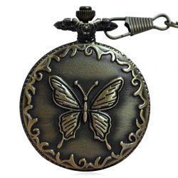 Carved Butterfly Vintage Quartz Pocket Watch