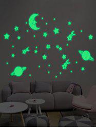 Cartoon Moon Earth Star Noctilucent Wall Stickers For Kid
