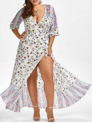 Floral Floor Length Plus Size Club Dress
