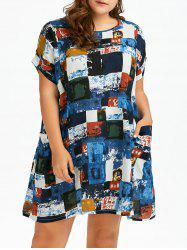 Plus Size Colored Plaid T-Shirt Dress With Pockets