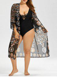 Plus Size Long Semi Sheer Chiffon Fringe Kimono Cover Up