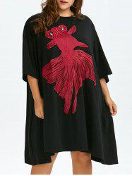 Plus Size Gold Fish Embroidery Oversized Dress