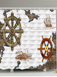 Anchor Ship Printed Waterproof Shower Curtain