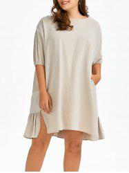 Plus Size Smock Linen Dress With Pockets