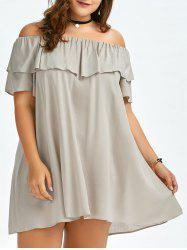 Plus Size Ruffled Off The Shoulder Swing Dress - APRICOT