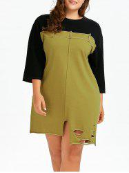 Plus Size Ripped Colorblock T-Shirt Dress With Pockets