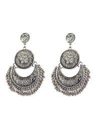 Vintage Engraved Flower Moon Beads Earrings -