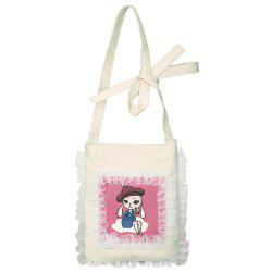 Cartoon Print Ruffle Shoulder Bag