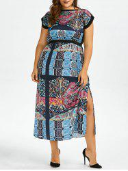 Plus Size Boat Neck Printed Ankle Dress