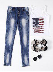 Ripped Button Fly Bleached Jeans