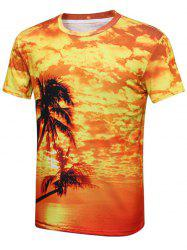 Coconut Tree Sunset Print Hawaiian T-Shirt