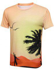 Coconut Print Crew Neck T-Shirt