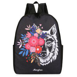 Wolf and Flower Paint Backpack