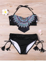 Overlay Fringed Graphic Bikini Set