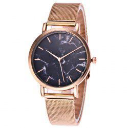 Steel Mesh Band Marble Face Quartz Watch
