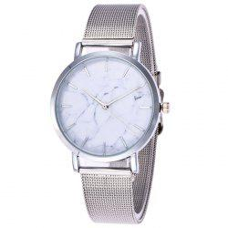Steel Mesh Band Marble Face Quartz Watch - SILVER