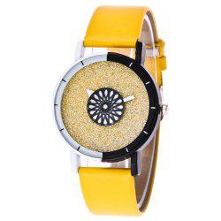 Faux Leather Band Glitter Quartz Watch