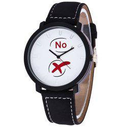 Yes No Faux Leather Strap Quartz Watch