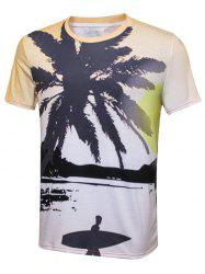 Tropical Coconut Tree Print Crew Neck T-Shirt