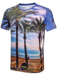 Beach Sky Palm Tree Print T-Shirt - COLORMIX