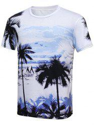 Tropical Printed Round Neck T-Shirt - COLORMIX